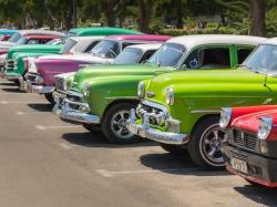 Havana Classic Car In Colorful Row